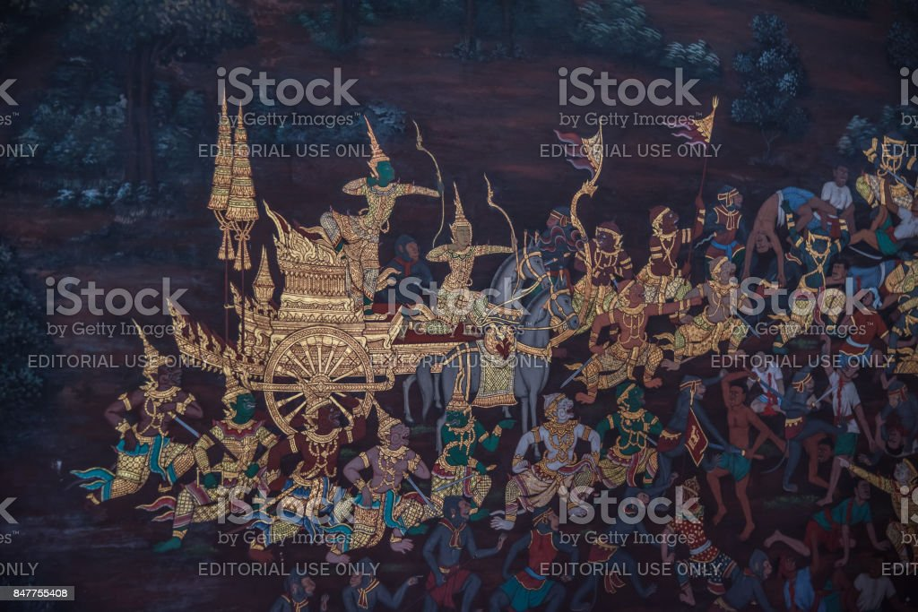 Art painting on the wall about ramayana story at Wat Phra Kaew stock photo