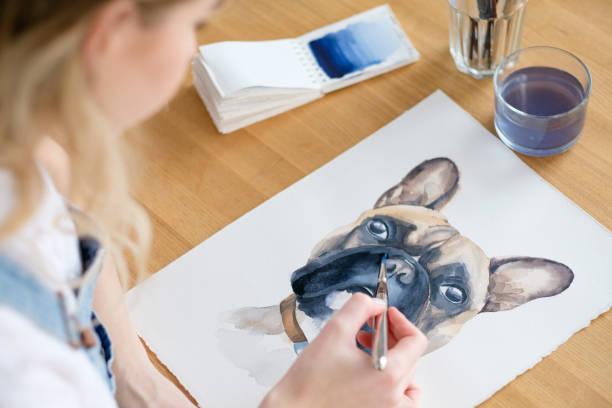 imagens de pintura arte desenho cachorro bulldog francês - cachorro desenho - fotografias e filmes do acervo