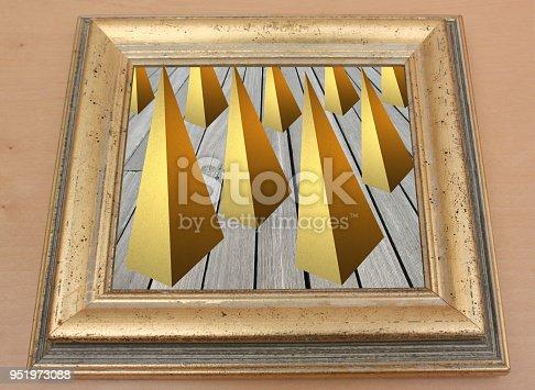 1062226450 istock photo Art Painting   Pyramids art chart on a wooden floor  Photo 951973088