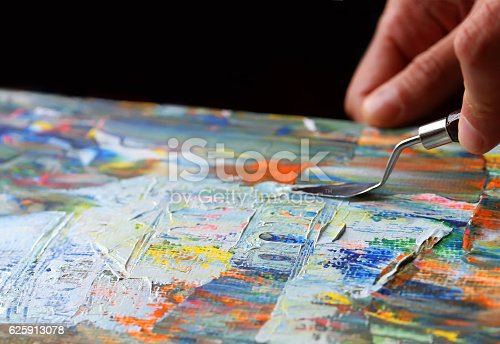 istock Art painting with palette knife 625913078