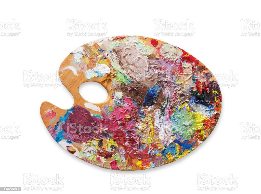 Art palette with colorful paint strokes, isolated stock photo