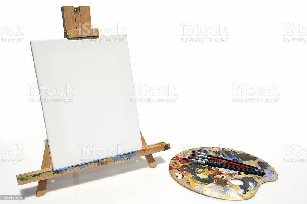 art pallette, brushes with easel royalty-free stock photo