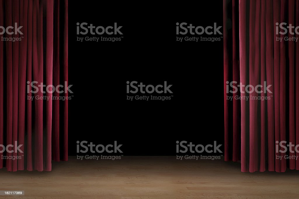 Art performance  stage with red curtain royalty-free stock photo