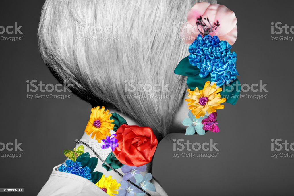 Art portrait of blonde woman stock photo