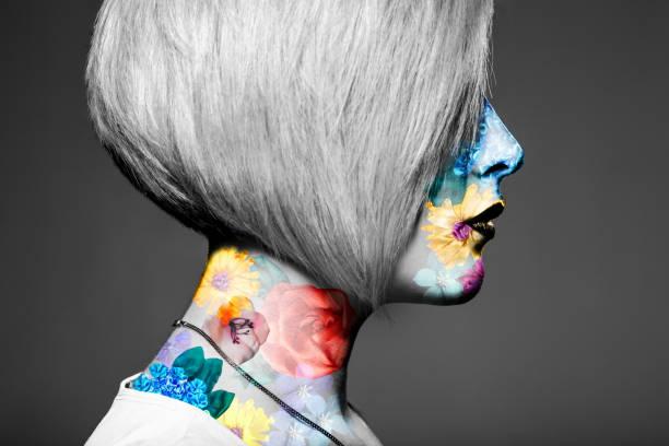 kunst-porträt von blonde frau - tattoo ideen stock-fotos und bilder