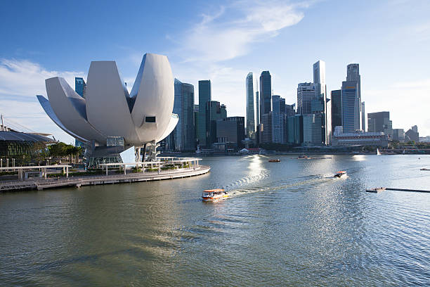 Art Science Museum and Singapore CBD in the evening stock photo