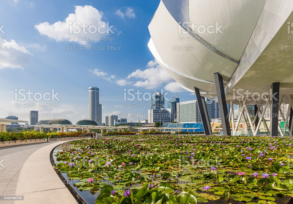 Art Science Museum building and Singapore skyline stock photo