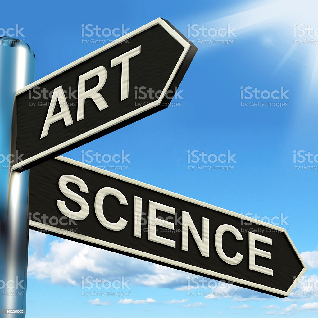 Art Science Signpost Shows Creating Or Formulas stock photo