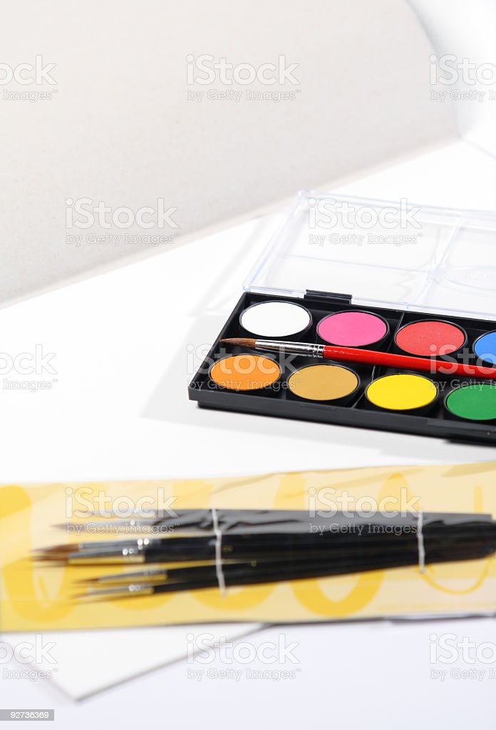 Art set of paints and brush royalty-free stock photo