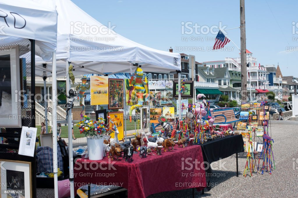 Art show booth in Cape Ma stock photo
