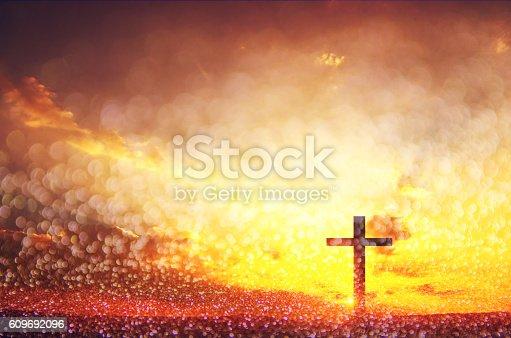 istock Art Silhouette crosses 609692096