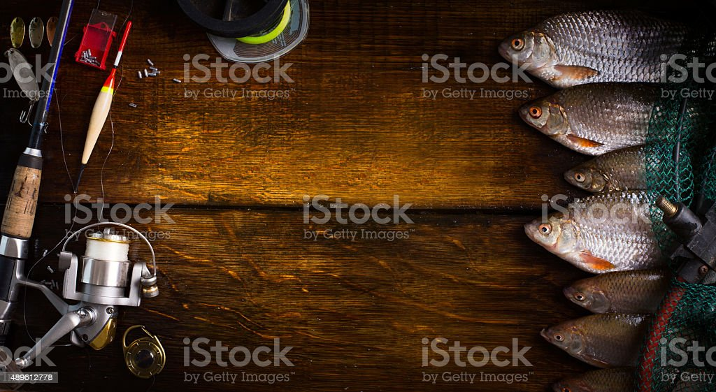 art sports fishing rod and tackle background stock photo