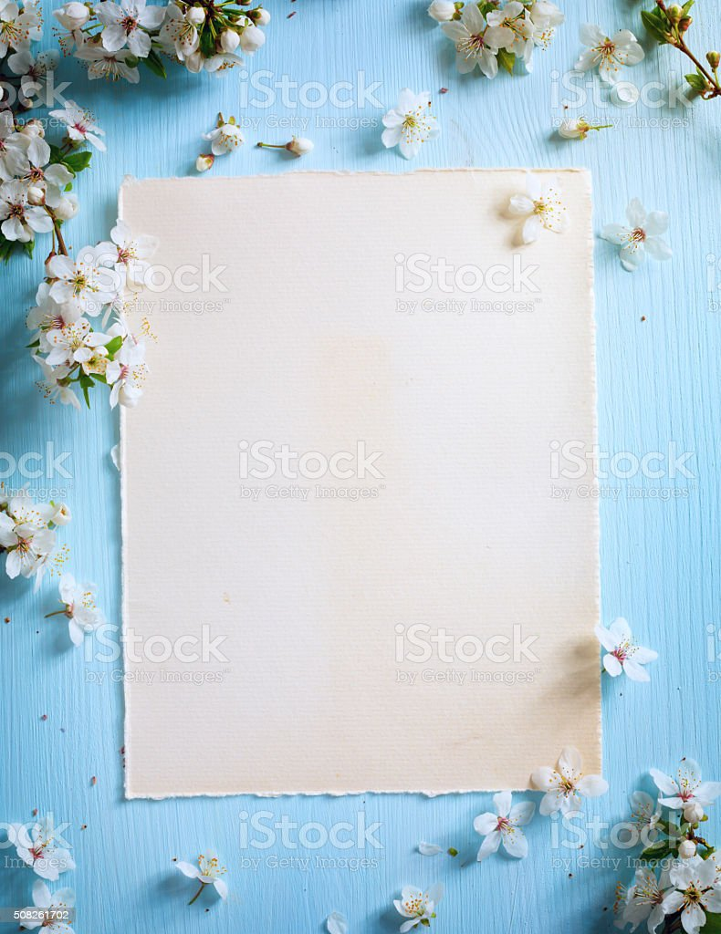 art Spring border background with blossom stock photo