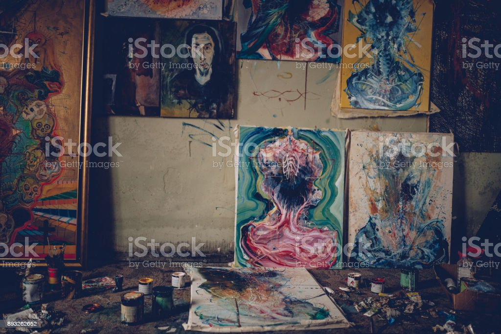 Art studio stock photo