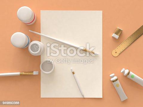 istock art supplies orange floor top view 3d rendering 949860388