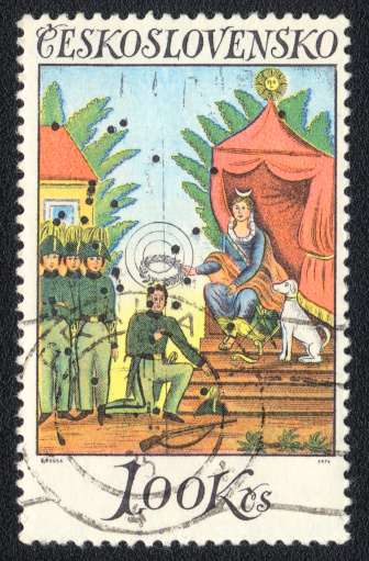 St.Petersburg, Russia - February 13, 2012: A stamp printed in CZECHOSLOVAKIA  shows Art target, circa 1976