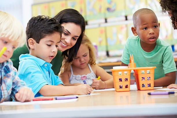 art teacher with elementary school children - preschool building stock photos and pictures