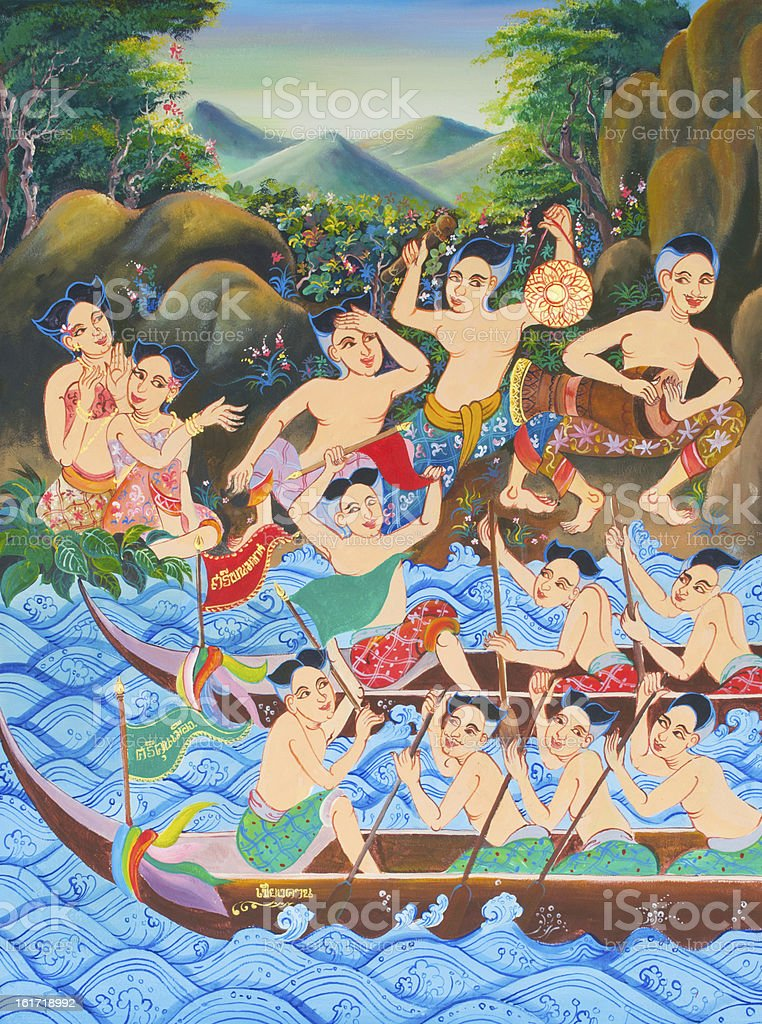 Art thai painting on wall in temple. stock photo