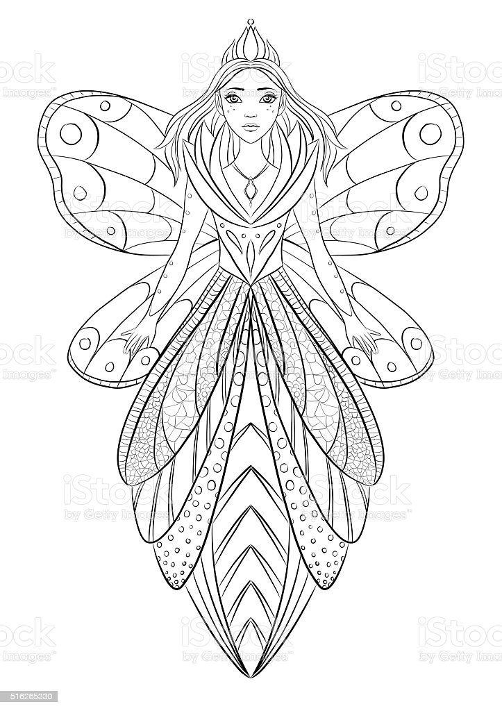 Art Therapy Coloring Page Illustration Of A Flower Fairy Queen Stock Photo  - Download Image Now - IStock