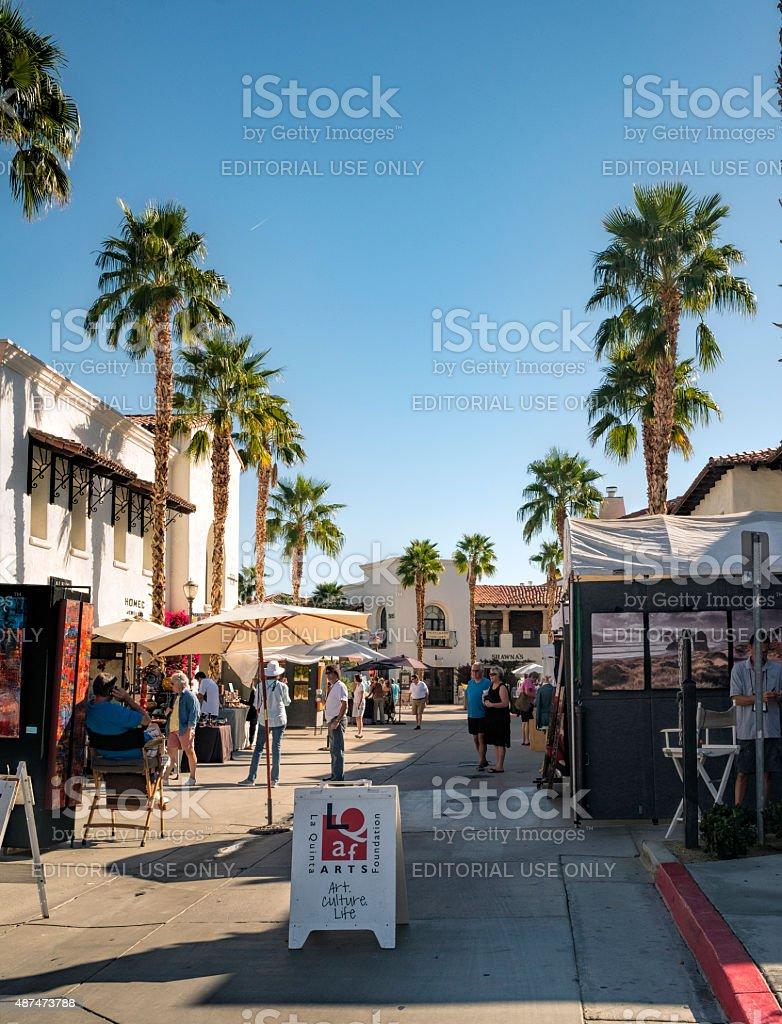 Art Under The Umbrellas Street Fair in La Quinta, California stock photo