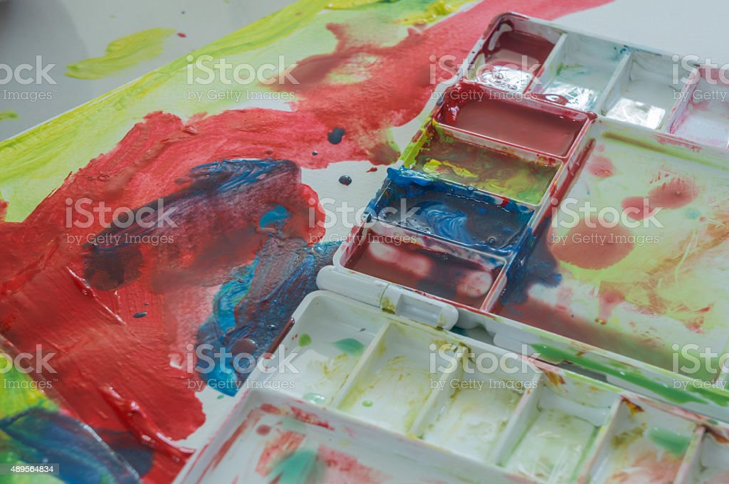art water color education kid play fun concept stock photo