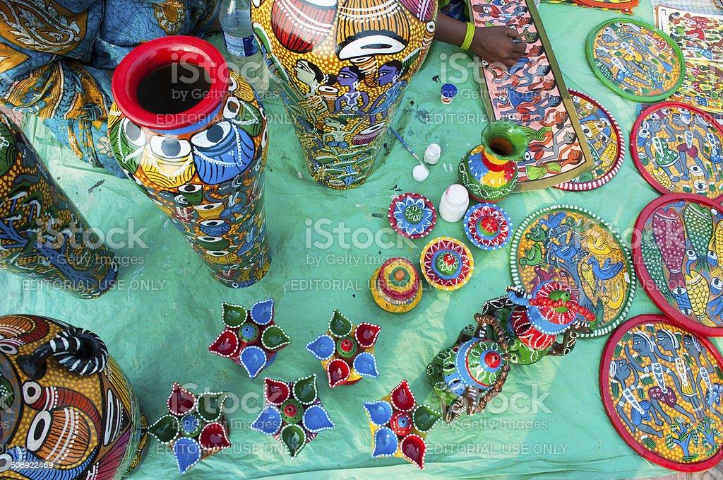 Art Works Indian Handicrafts Fair At Kolkata Stock Photo More