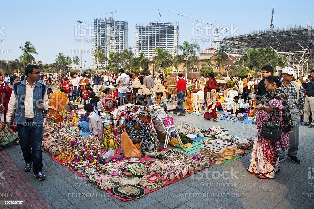 Art Works On Display Indian Handicrafts Fair At Kolkata Stock Photo