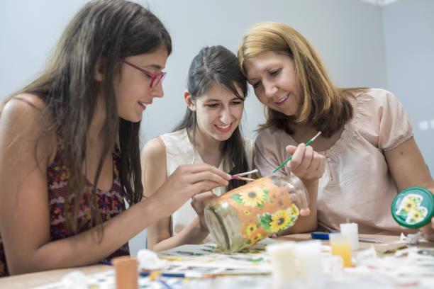 art workshop - decoupage kunst stock-fotos und bilder