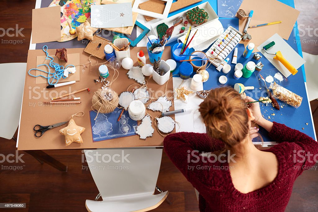 Art workspace stock photo