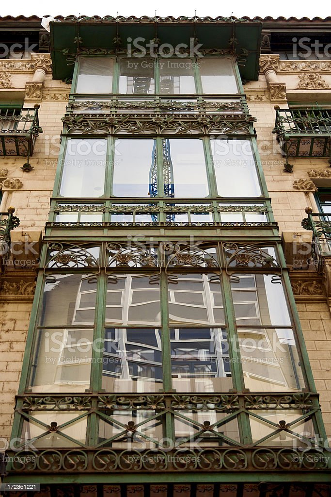 Art-Deco balcony in Zaragoza royalty-free stock photo