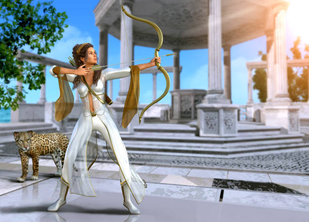 Artemis Greek Warrior Goddess of the Hunt Artemis, enchanting Ancient Greek goddess of the hunt, in shooting pose with bow and arrow, 3d render painting artemis stock pictures, royalty-free photos & images