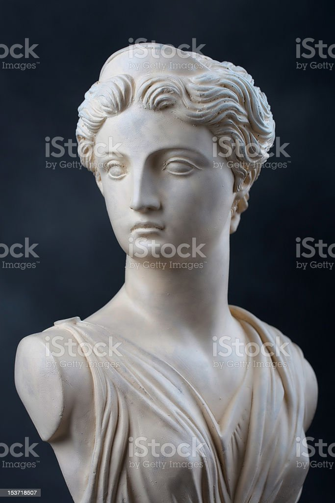Artemis - Stone bust stock photo