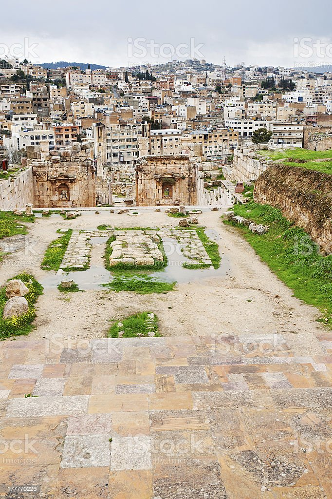 Artemis temple and  modern Jerash , Jordan royalty-free stock photo