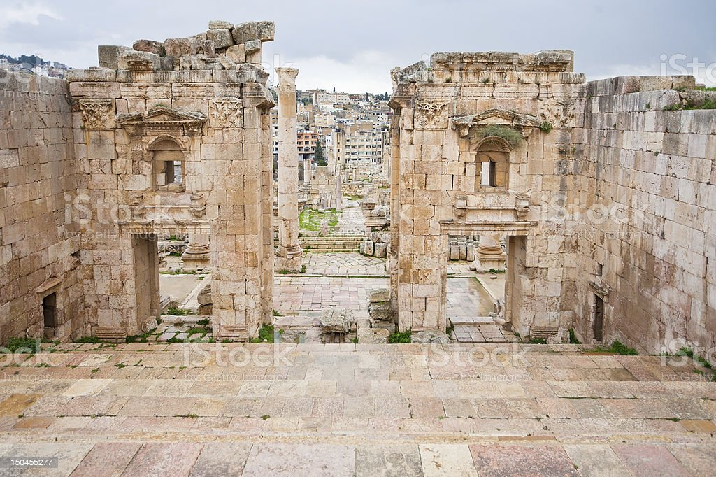 Artemis temple in ancient city  Gerasa to modern Jerash stock photo