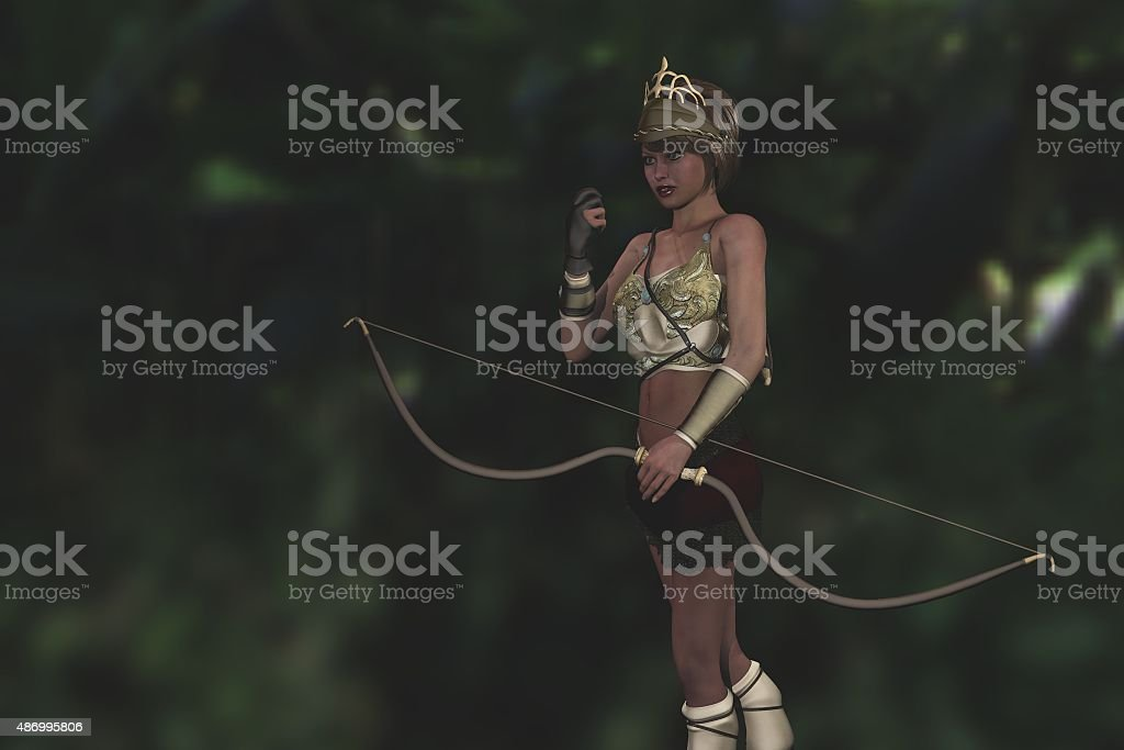 Artemis the Grecian goddess in forest stock photo