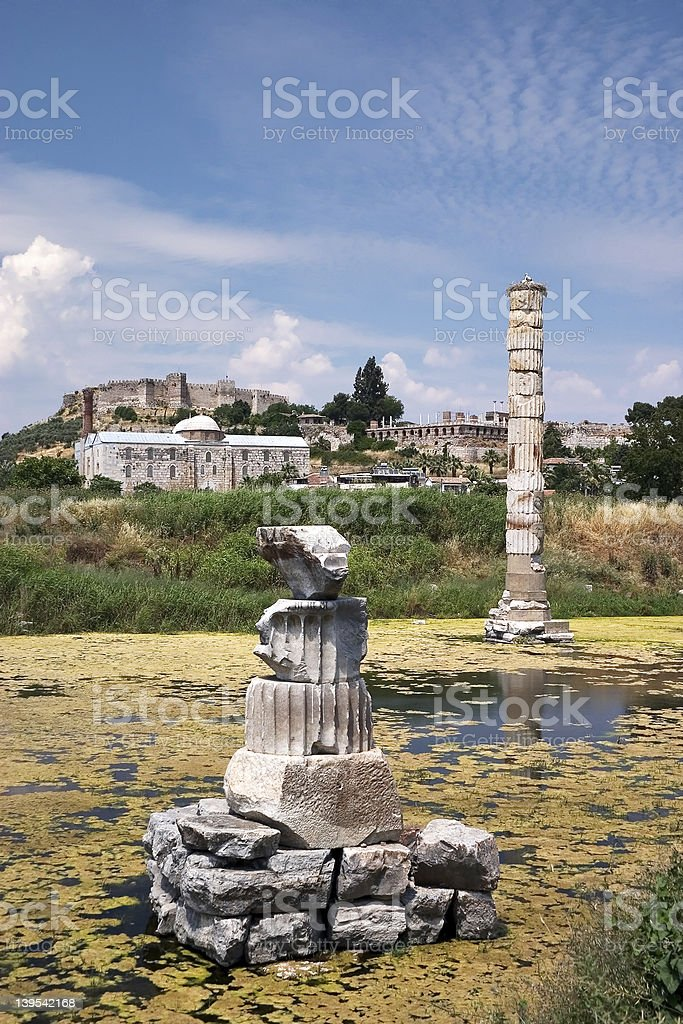 Artemision or Temple of Diana at Ephesus stock photo