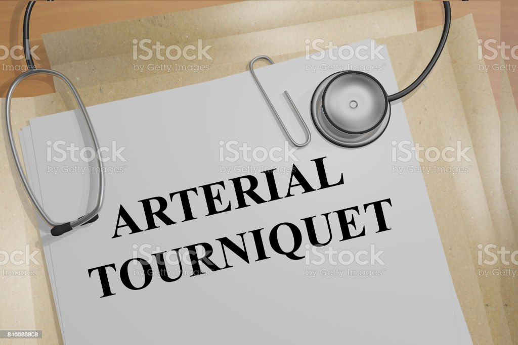 Arterial Tourniquet concept stock photo