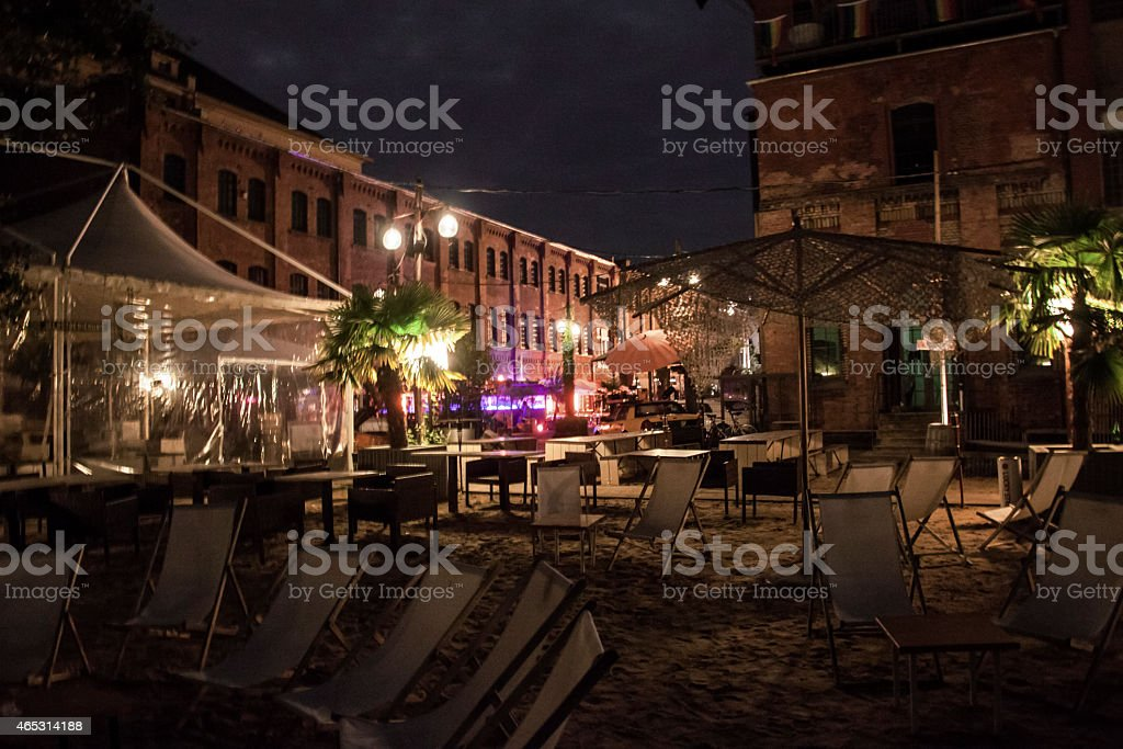 artful urban restaurant, sunny terrace,beach area stock photo