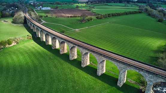 Arches of Victorian built bridge in countryside
