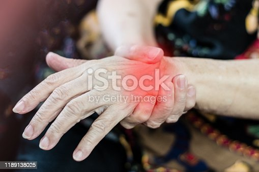 668285874istockphoto Arthritis chronic ache pain on wrist of old woman concept. Hand of older person with red spot as sick from  de Quervain's tenosynovitis disease, a painful inflammation of tendons in wrist and lower thumb. 1189138025