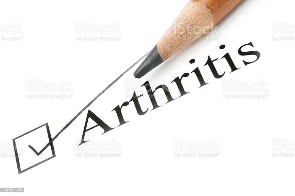 arthritis health care check list royalty-free stock photo