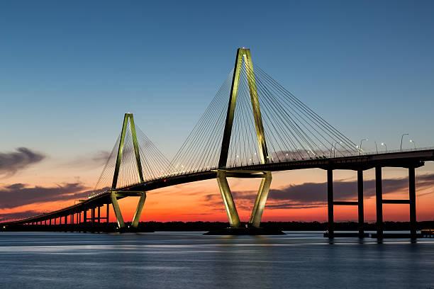 Arthur Ravenel Bridge, Charleston at Twilight stock photo