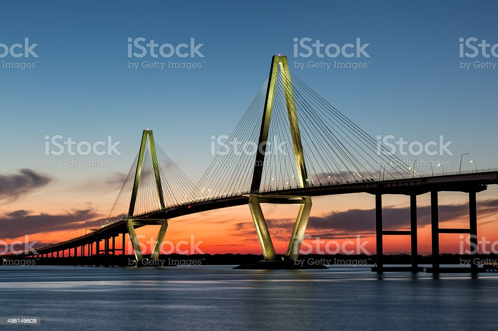 Arthur Ravenel Bridge, Charleston at Twilight stock photo