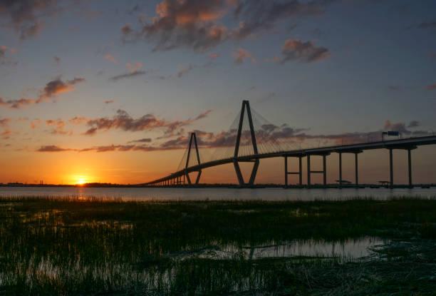 Arthur Ravenel Jr Bridge over the Copper River in Charleston South Carolina stock photo
