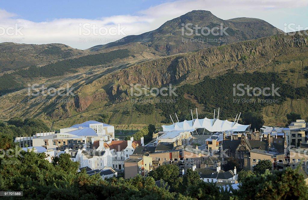Arthur's Seat and Scottish Parliamentary buildings, Edinburgh royalty-free stock photo