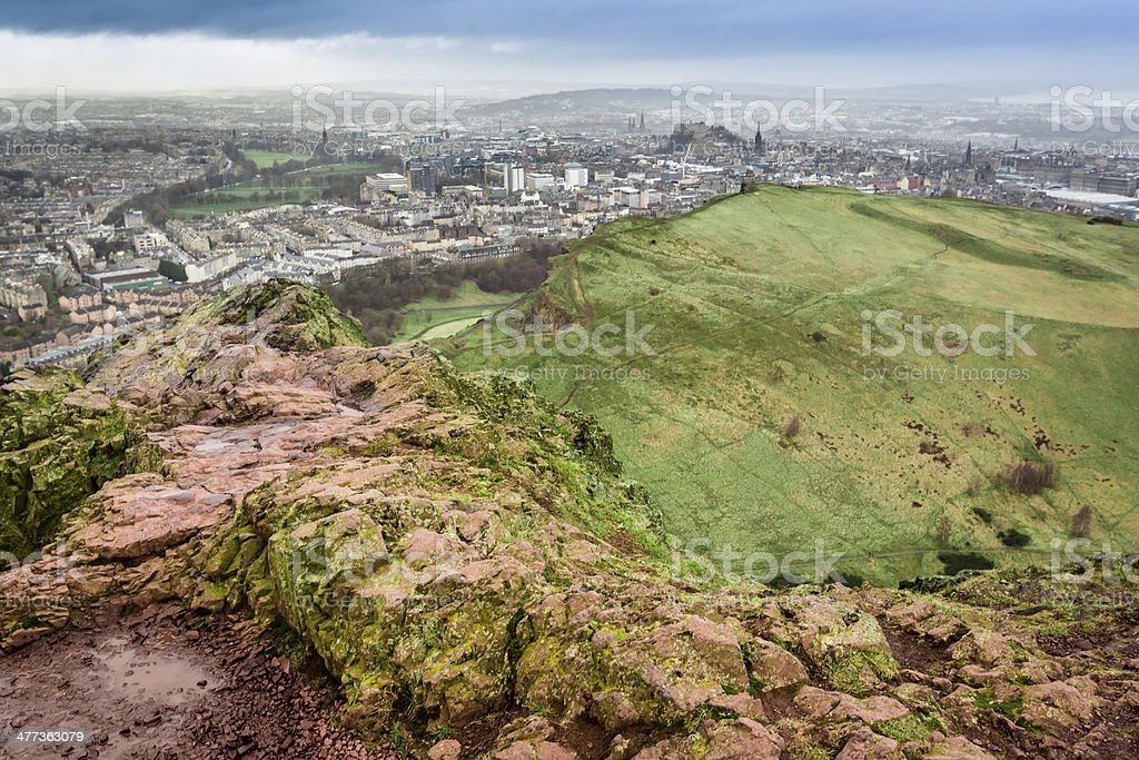 Arthur's Seat in a rainy day stock photo