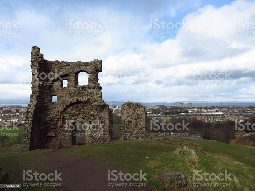 Arthur's seat ruin Edinburgh stock photo