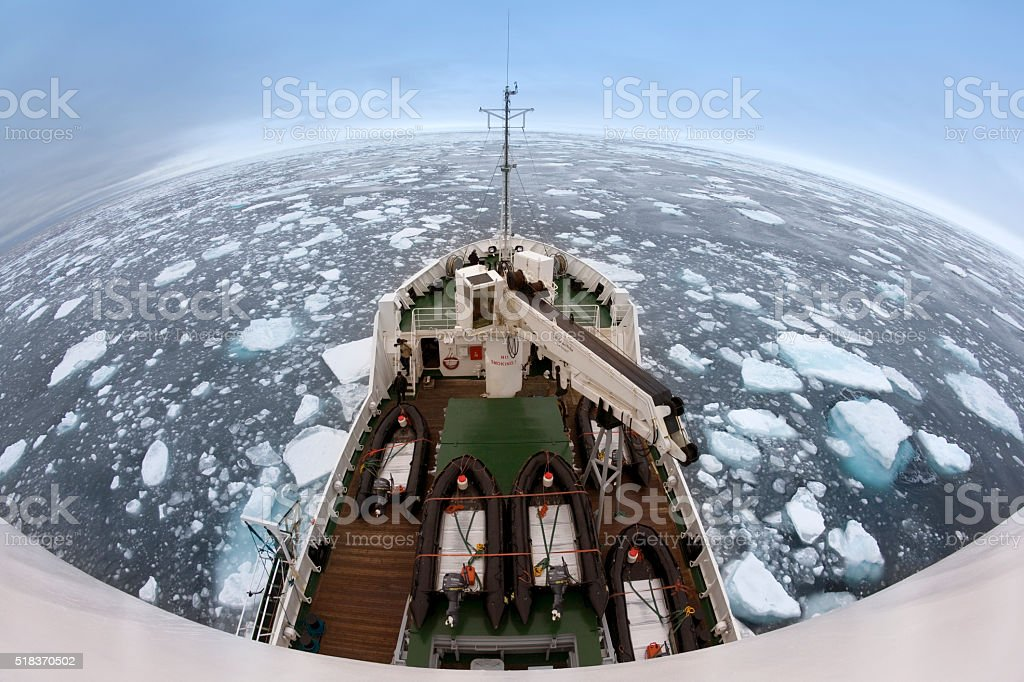 Artic sea ice off the coast of Spitsbergen stock photo