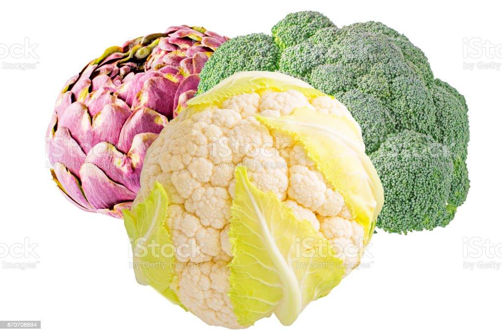 artichoke, cauliflower and broccoli isolated - foto stock
