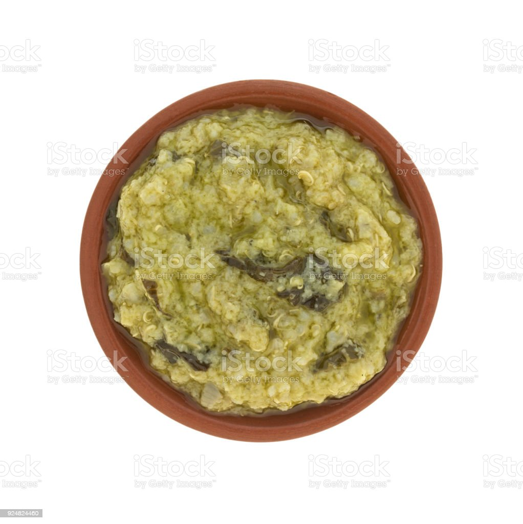 Artichoke dip in a small bowl stock photo